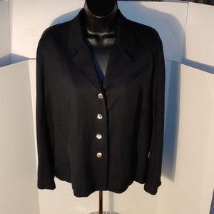 Valerie Stevens Black Button Pure Silk Jacket